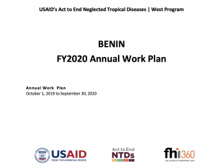 Benin FY2020 Act to End NTDs | West Program Work Plan