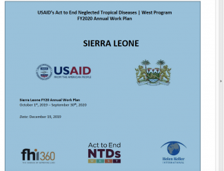 Sierra Leone FY2020 Work Plan Cover