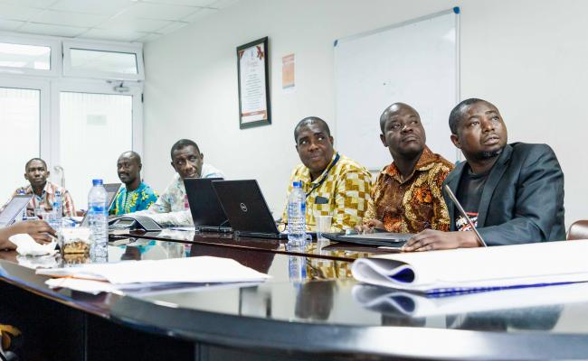 Ghanaian Neglected Tropical Disease Program officials review NTD program data with representatives from USAID's Act to End NTDs | West program. Photo: AIM Initiative
